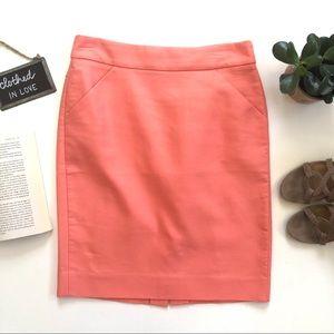 J. Crew Pink Double-Serge Cotton Pencil Skirt